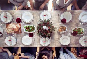 Friends having christmas dinner
